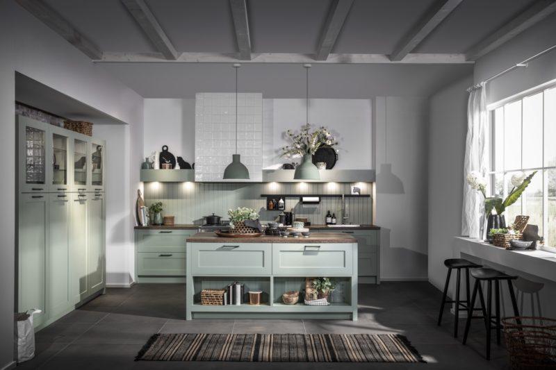 Landelijke keuken in pastelgroen